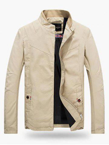 Unique Stand Collar Zippered Jacket - 4XL LIGHT KHAKI Mobile