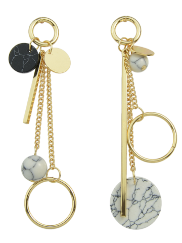 Asymmetric Circle Ball Disc Bar Earrings - GOLDEN
