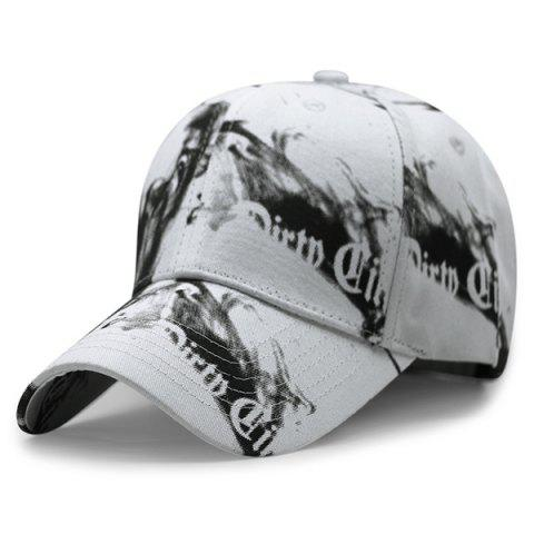 Letters Smog Print Baseball Cap - White - One Size