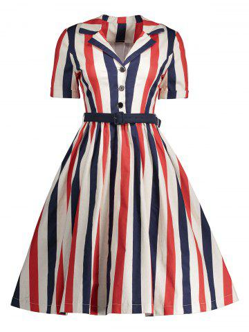 Best Midi A Line Stripe Vintage Shirt Dress RED M