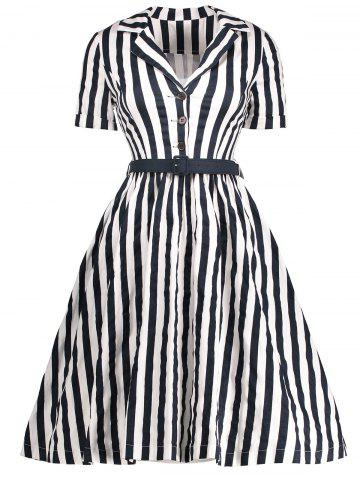 Vintage Striped A Line Midi Dress with Buttons - BLACK 2XL