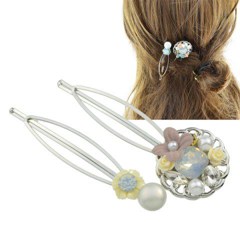 New Rhinestone Faux Pearl Flower Hairpin Set - YELLOW  Mobile