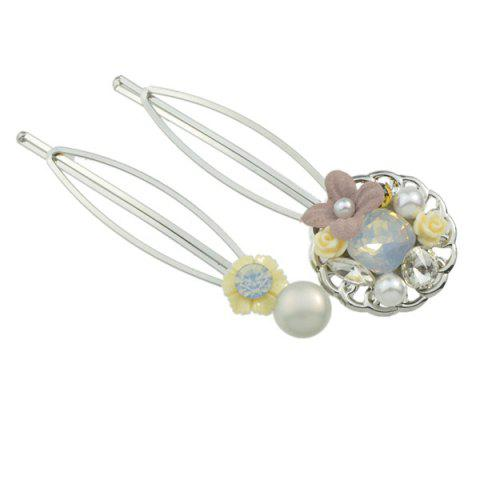 Store Rhinestone Faux Pearl Flower Hairpin Set - YELLOW  Mobile