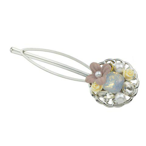 Shop Rhinestone Faux Pearl Flower Hairpin Set - YELLOW  Mobile