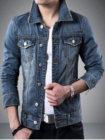 Collier Turndown poches design Veste en jean