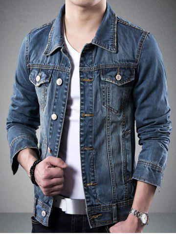Outfits Turndown Collar Pockets Design Jean Jacket - 3XL BLUE Mobile