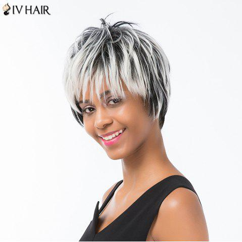 Sale Siv Hair Pixie Colormix Short Side Bang Straight Layered Human Hair Wig - COLORMIX  Mobile