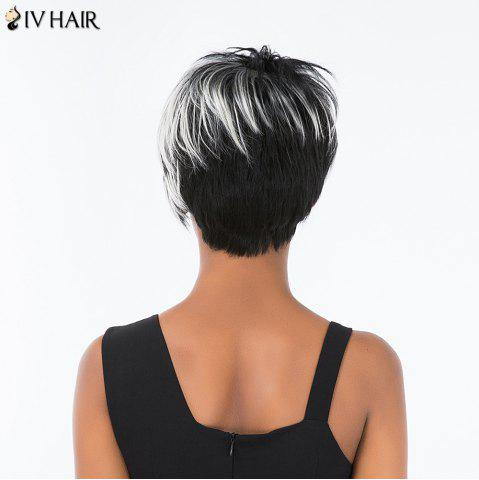 Chic Siv Hair Pixie Colormix Short Side Bang Straight Layered Human Hair Wig - COLORMIX  Mobile