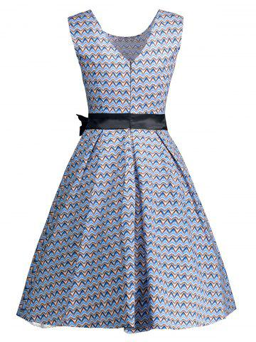 Store Vintage Bowknot Embellished A Line Dress - M WINDSOR BLUE Mobile