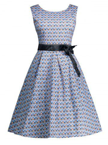 Fancy Vintage Bowknot Embellished A Line Dress - M WINDSOR BLUE Mobile
