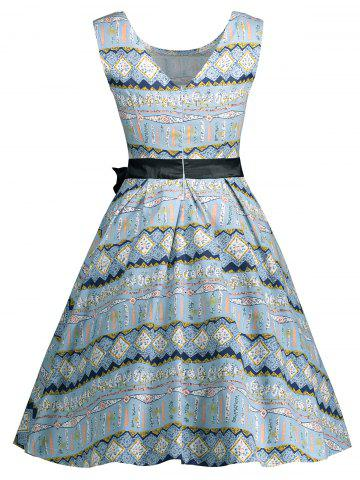 Discount Vintage Bowknot Embellished A Line Dress - 2XL LIGHT BLUE Mobile