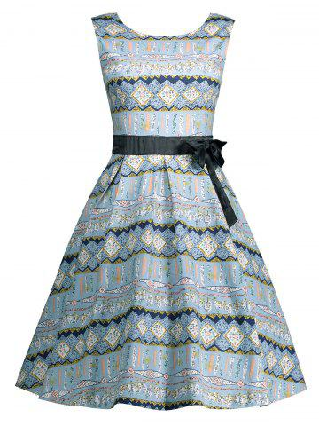 Online Vintage Bowknot Embellished A Line Dress - 2XL LIGHT BLUE Mobile
