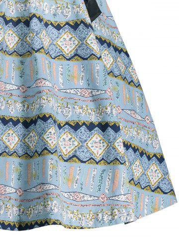 New Vintage Bowknot Embellished A Line Dress - 2XL LIGHT BLUE Mobile