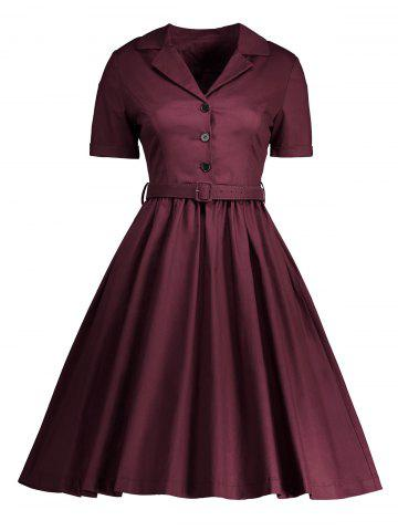 Chic Shirt Collar A Line Vintage Dress - 2XL WINE RED Mobile