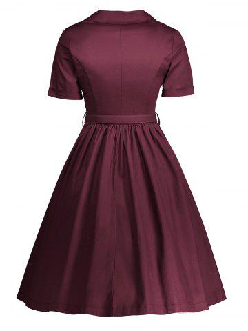 Discount Shirt Collar A Line Vintage Dress - 2XL WINE RED Mobile
