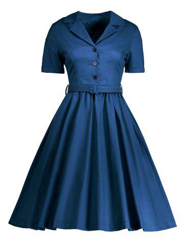 Best Shirt Collar A Line Vintage Dress - M BLUE Mobile