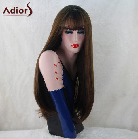 Hot Adiors Silky Straight Long Neat Bang Synthetic Wig - BLACK BROWN  Mobile