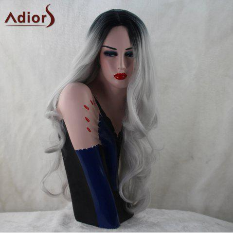 Fashion Adiors Long Middle Part Colormix Fluffy Wavy Synthetic Wig - COLORMIX  Mobile