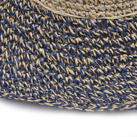 Latest Color Block Beach Straw Fedora Hat with Flouncing - CADETBLUE  Mobile