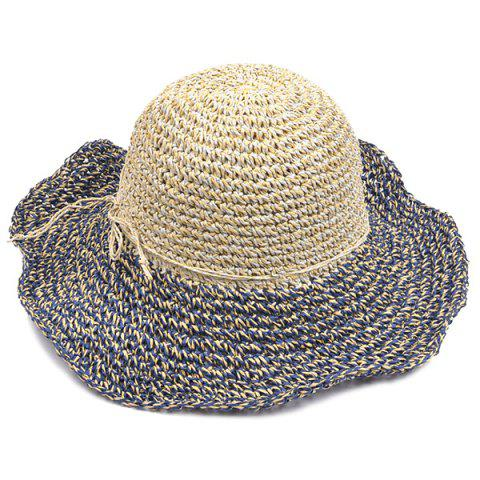 Cheap Color Block Beach Straw Fedora Hat with Flouncing - CADETBLUE  Mobile