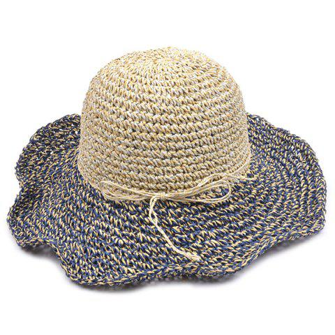 Trendy Color Block Beach Straw Fedora Hat with Flouncing - CADETBLUE  Mobile
