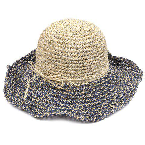 Fancy Color Block Beach Straw Fedora Hat with Flouncing CADETBLUE