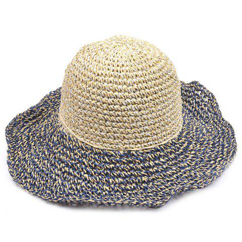 Sale Color Block Beach Straw Fedora Hat with Flouncing - CADETBLUE  Mobile
