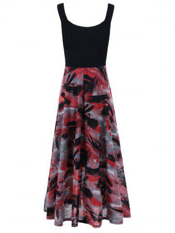 Chic Plus Size Tie Dye Midi Casual Flower Dress - 3XL RED WITH BLACK Mobile