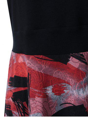 Affordable Plus Size Tie Dye Midi Casual Flower Dress - 3XL RED WITH BLACK Mobile