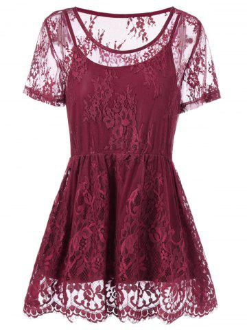 Affordable Plus Size Floral Lace Peplum Blouse WINE RED 2XL