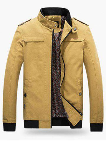 Buy Ribbed Trim Stand Collar Jacket - EARTHY L Mobile