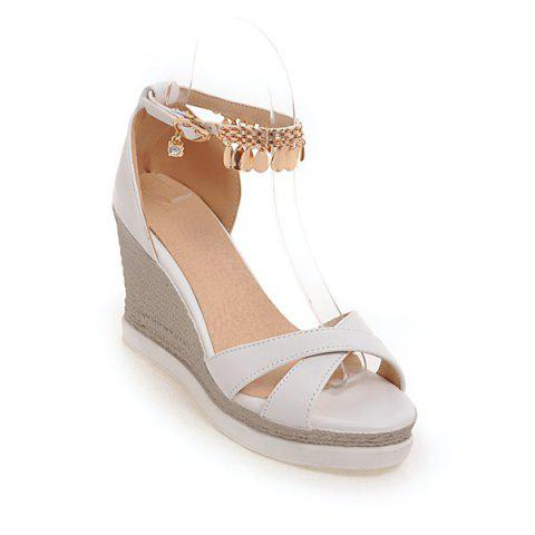 Chic Wedge Heel Cross Strap Sandals - WHITE 38 Mobile