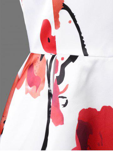 Fashion Sleeveless Flower Tea Length Dress - M BLACK AND WHITE AND RED Mobile