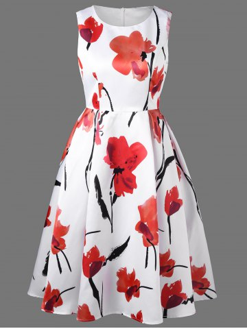 Latest Sleeveless Flower Tea Length Dress - M BLACK AND WHITE AND RED Mobile