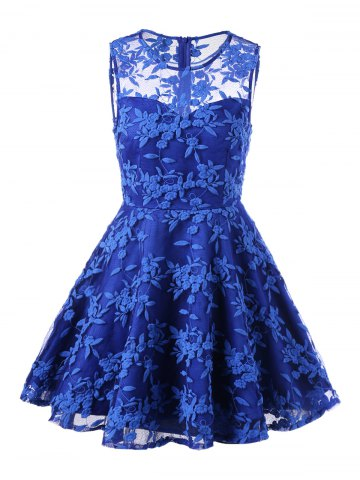 Lace Embroidered Sleeveless Homecoming Skater Dress - Blue - L