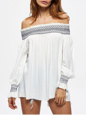 Sale Off The Shoulder Flowy Embroidered Blouse - L WHITE Mobile