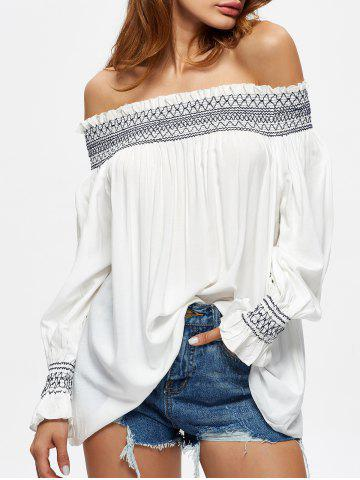 Cheap Off The Shoulder Flowy Embroidered Blouse WHITE L
