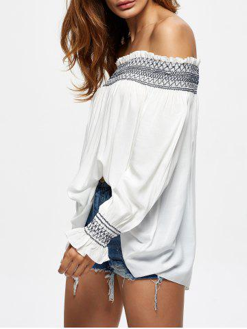 Trendy Off The Shoulder Flowy Embroidered Blouse - L WHITE Mobile