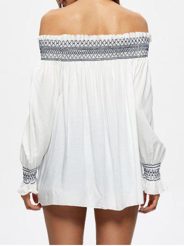 Shop Off The Shoulder Flowy Embroidered Blouse - L WHITE Mobile