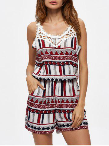 Shop Geometric Print Crochet Lace Insert Romper with Pocket