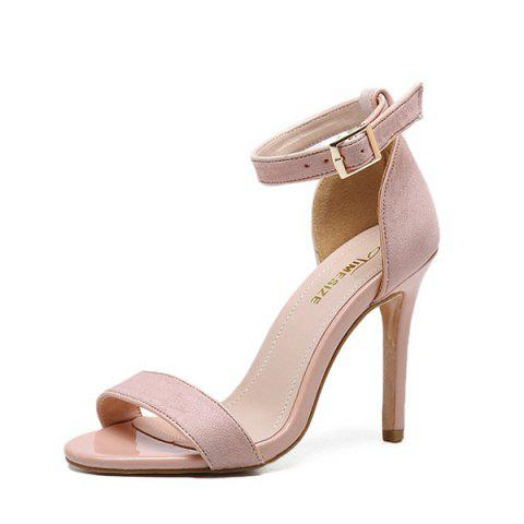 Ankle Strap Stiletto Heel Sandals - PINK 37