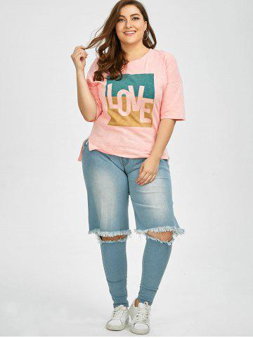 Online Plus Size Love Graphic T-Shirt - 2XL PINK Mobile
