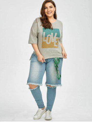 Affordable Plus Size Love Graphic T-Shirt - 5XL GRAY Mobile