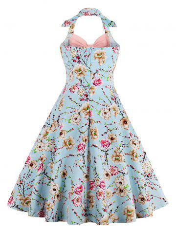 Latest Halter Neck Floral Pin Up A Line Dress - PEONY PINK S Mobile