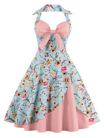 Chic Halter Neck Floral Pin Up A Line Dress PEONY PINK S