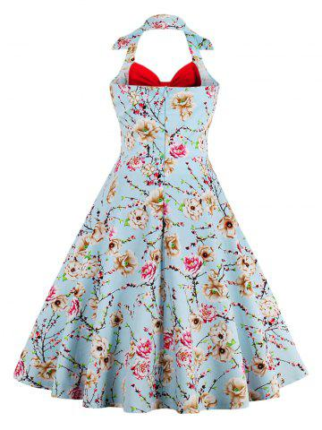 Online Halter Neck Floral Pin Up A Line Dress - RED XL Mobile