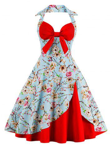 Outfits Halter Neck Floral Pin Up A Line Dress - RED S Mobile