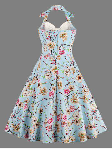 New Halter Neck Floral Pin Up A Line Dress - S OFF-WHITE Mobile