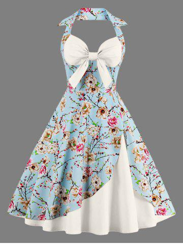 Affordable Halter Neck Floral Pin Up A Line Dress OFF WHITE S