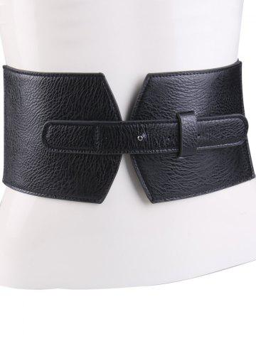 Outfit PU Panel Corset Belt with Cover Buckle - BLACK  Mobile